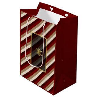 Bolso rayado del regalo de la moca de la cereza bolsa de regalo mediana