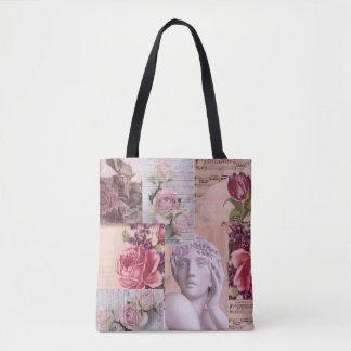 Bolso retro rosado elegante del collage para la bolso de tela