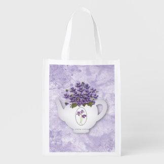 Bolso reutilizable de la tetera violeta