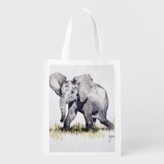 Bolso reutilizable del elefante joven bolsas reutilizables