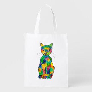 Bolso reutilizable del gato del arco iris