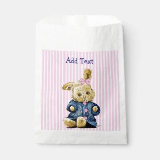 Bolso rosado del favor del caramelo del conejo de bolsa de papel