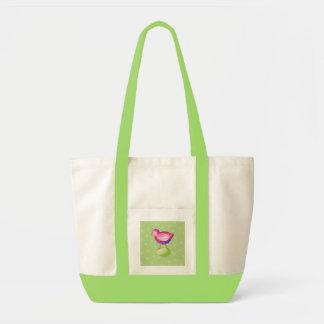 Bolso rosado del verde del pájaro bolsas lienzo