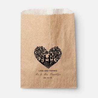 Bolso rústico del favor del boda del corazón bolsa de papel