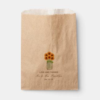 Bolso rústico del favor del boda del tarro de bolsa de papel
