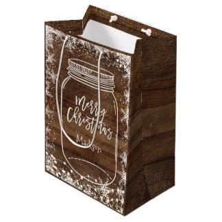Bolso rústico del regalo del navidad del tarro de bolsa de regalo mediana