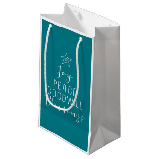 Bolso tipográfico del regalo del árbol de navidad bolsa de regalo pequeña