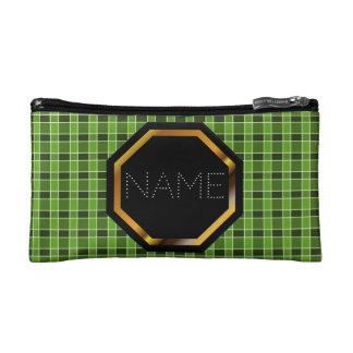 Bolso verde adaptable de los cosméticos de la tela