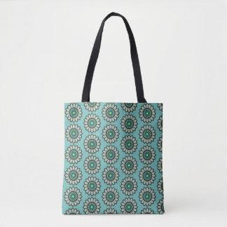 Bolso verde azulado estilizado retro del estampado