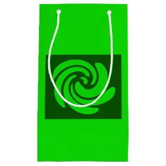 Bolso verde del regalo del remolino bolsa de regalo pequeña