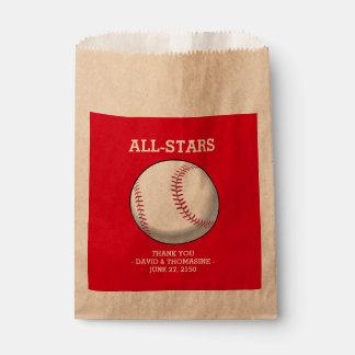 Bolsos del favor del boda del béisbol bolsa de papel
