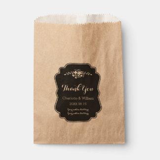 Bolsos florales del favor del boda de la pizarra bolsa de papel