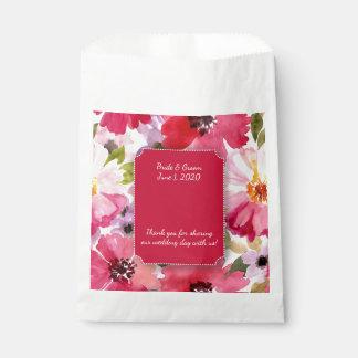 Bolsos rojos florales modernos del favor del boda bolsa de papel