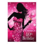 Bomba chispa 40.o cumpleaños el | fuschia 12 de anuncio personalizado