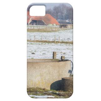Bomba de agua y bien en paisaje de la nieve del funda para iPhone SE/5/5s
