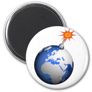 ¡Bomba de la tierra! Imán Redondo 5 Cm