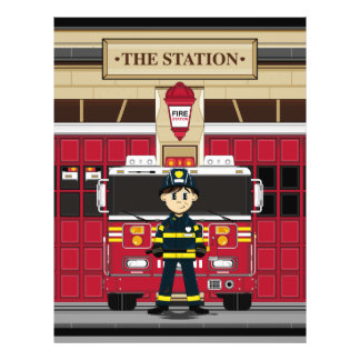 Bombero con el aviador del coche de bomberos tarjeta publicitaria