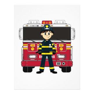 Bombero con el aviador del coche de bomberos folleto 21,6 x 28 cm