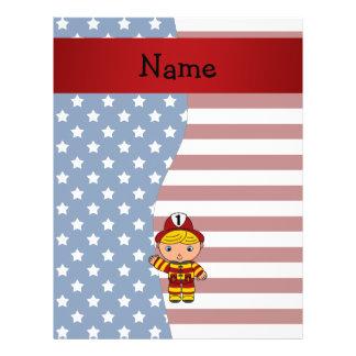 Bombero patriótico conocido personalizado tarjeton