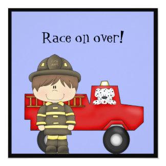 Bombero, poco coche de bomberos rojo, Dalmatian Invitación 13,3 Cm X 13,3cm