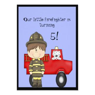 Bombero, poco coche de bomberos rojo, Dalmatian Invitación 12,7 X 17,8 Cm
