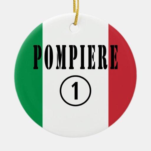 Bomberos italianos: Uno de Pompiere Numero Ornamento Para Arbol De Navidad