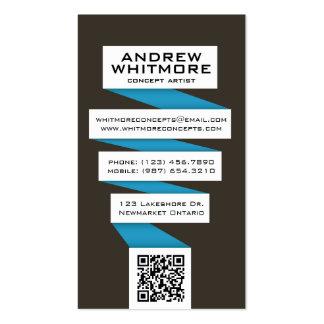 Bombilla abstracta que fluye - azul tarjetas personales