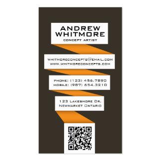 Bombilla abstracta que fluye - naranja plantilla de tarjeta de negocio
