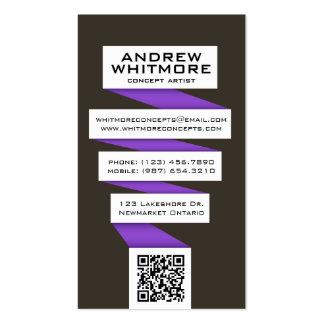 Bombilla abstracta que fluye - púrpura tarjetas de visita