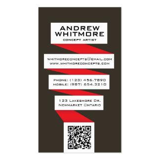 Bombilla abstracta que fluye - rojo plantilla de tarjeta de negocio