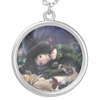 bonita cuello bruja hada y mariposa de luna pendientes personalizados