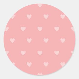 Bonito en pegatinas rosados del corazón pegatina redonda