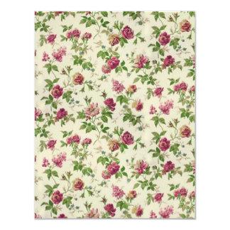 bonito floral del padrão invitación 10,8 x 13,9 cm