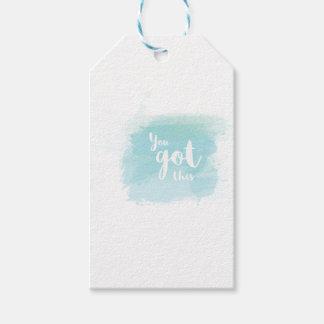 Bonito usted consiguió esta acuarela azul de la etiquetas para regalos