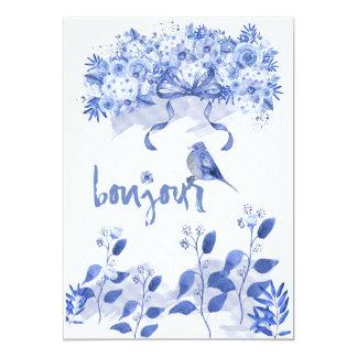 Bonjour, pequeño bluebird invitación 12,7 x 17,8 cm