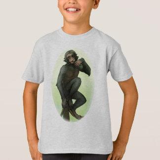 Bonobo que come la camiseta de la fruta