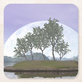 Bonsais del pino - 3D rinden Posavasos Cuadrado De Papel