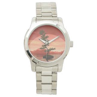 Bonsais del pino - 3D rinden Reloj