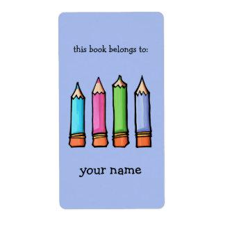 Bookplate coloreado de la lavanda de los lápices etiquetas de envío