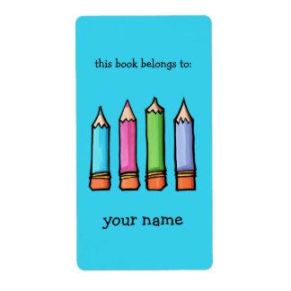 Bookplate coloreado del azul de los lápices etiqueta de envío