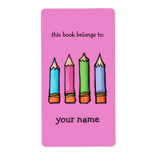 Bookplate rosado coloreado de los lápices etiqueta de envío