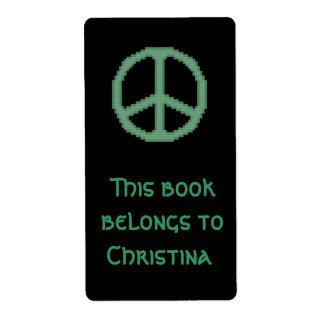 Bookplate verde del signo de la paz etiquetas de envío