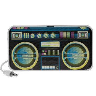 boombox azul de neón retro del arenador del ghetto portátil altavoces