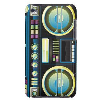 boombox azul de neón retro del arenador del ghetto iPod touch Case-Mate fundas