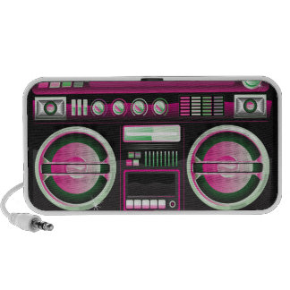 boombox rosado de neón retro del arenador del ghet laptop altavoces