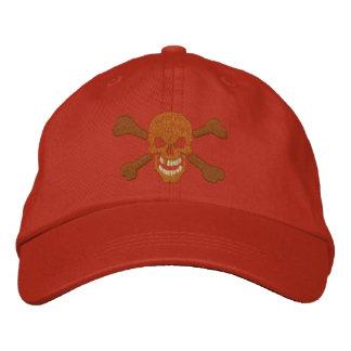 Bordado clásico del cráneo de la bandera pirata de gorra de béisbol