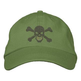 Bordado clásico del cráneo de la bandera pirata de gorra bordada