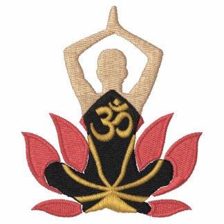 Bordado de la actitud de la yoga de Namaste Lotus  Polo Bordado