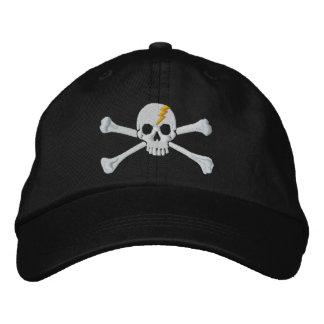 Bordado de oro del cráneo de la bandera pirata del gorra de beisbol bordada