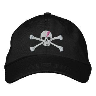 Bordado del cráneo de la bandera pirata del rayo d gorra de beisbol